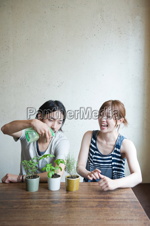 young couple with plant