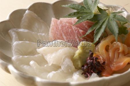 still life of raw fish dish