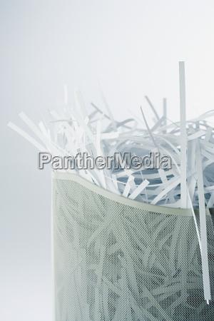 shredded paper in the bin