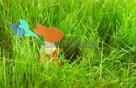 easter bunny running in grass