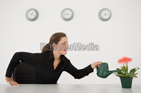 businesswoman watering a plant