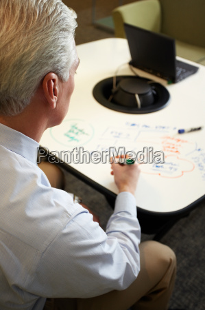 businessman making notes on table