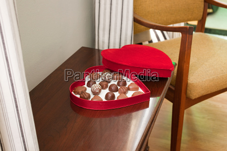 chocolates in heart shaped box