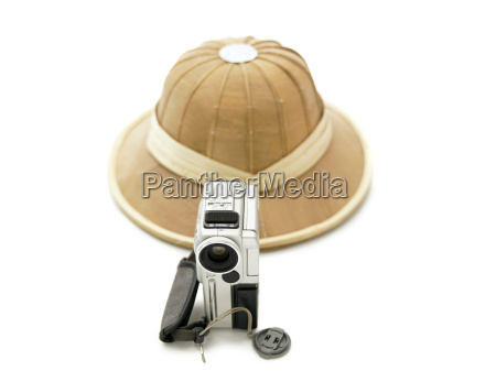 pith helmet and video camera