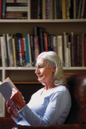 woman reading in study
