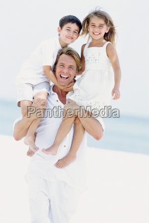 father with son and daughter