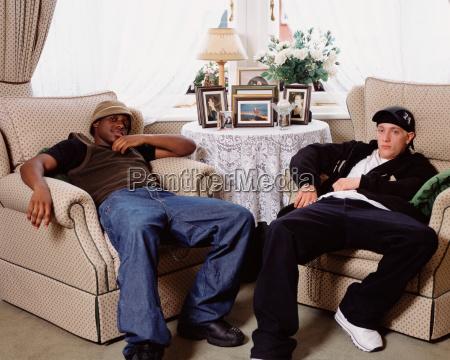 teenage boys in living room