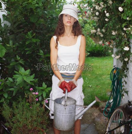 woman tending the garden