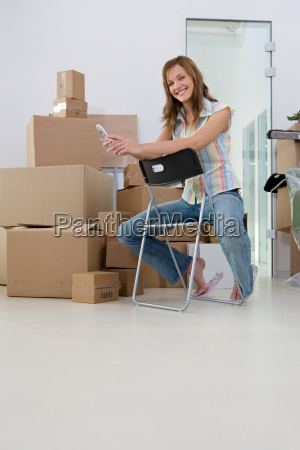 young woman in a new office