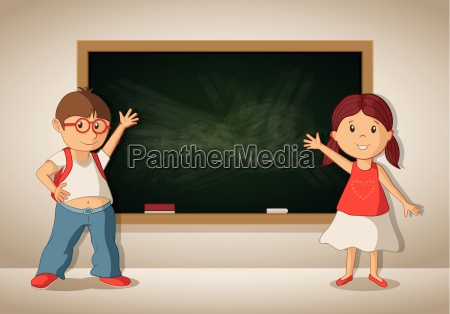 vector little boy and girl showing