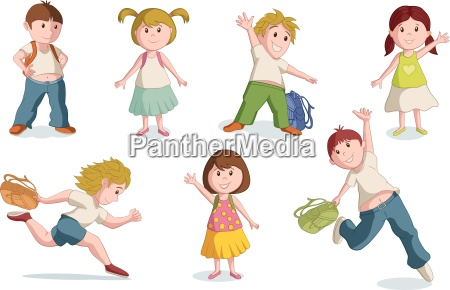 vector illustration of school children global
