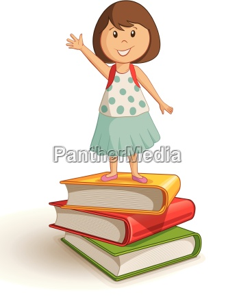 vector illustration of a school girl