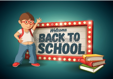 retro welcome back to school light