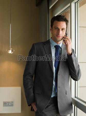 portrait of a businessman using a