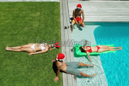 christmas by the swimming pool