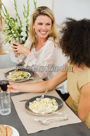 friends talking at a dinner party