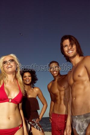 portrait of friends on a beach
