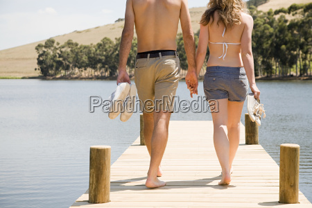 couple enjoying lakeside vacation