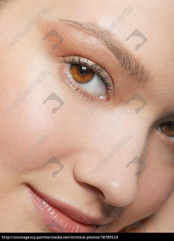 close, up, von, jungen, frau, das - 18789524