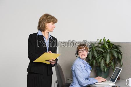 businesswoman watching over work