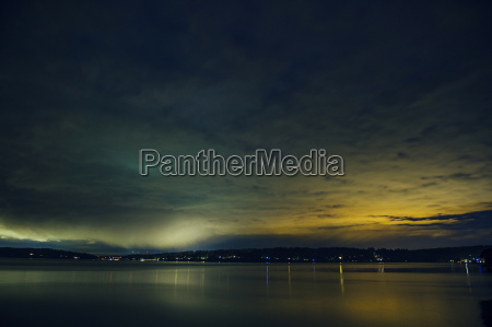 silhouetted view of puget sound at