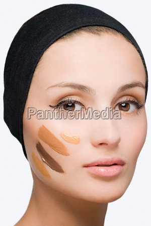 woman with foundation on face