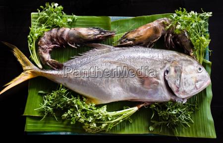 fresh tuna and tiger prawns
