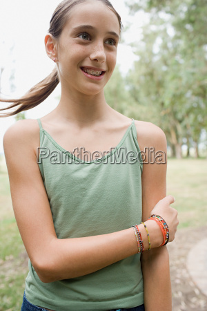 smiling girl with brace