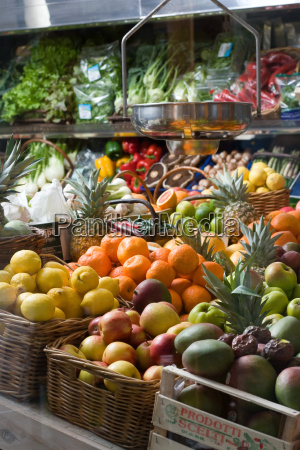 organic fruit and vegetables in greengrocers