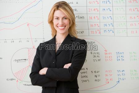 young woman posing at chart