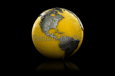 gelber und schwarzer globus nord und