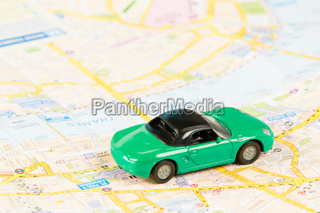 toy car on map of london