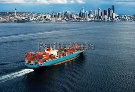 aerial view of container ship seattle