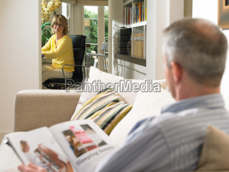 mature couple resting at home