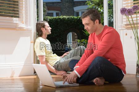 heterosexual couple at home