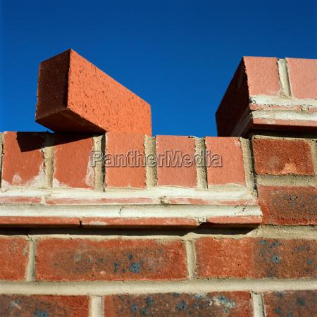 brick balancing on wall