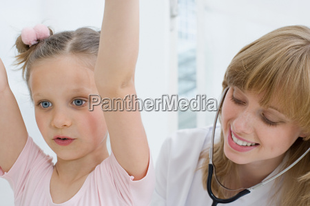 girl having a check up with