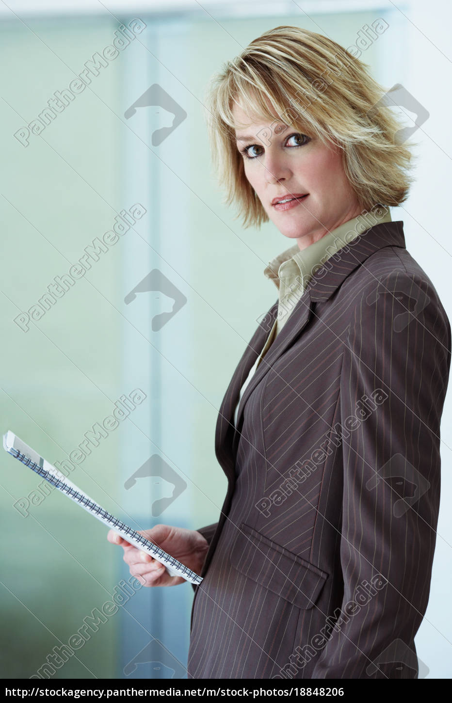 businesswoman, holding, booklet - 18848206