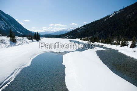snow on a lake in mountain