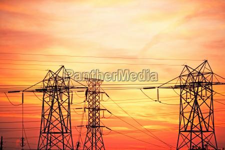 industrie abend energie strom elektrizitaet outdoor