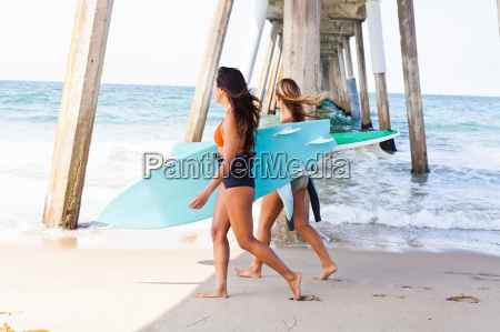 female friends on beach with surf