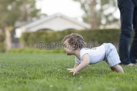 side view of baby boy crawling