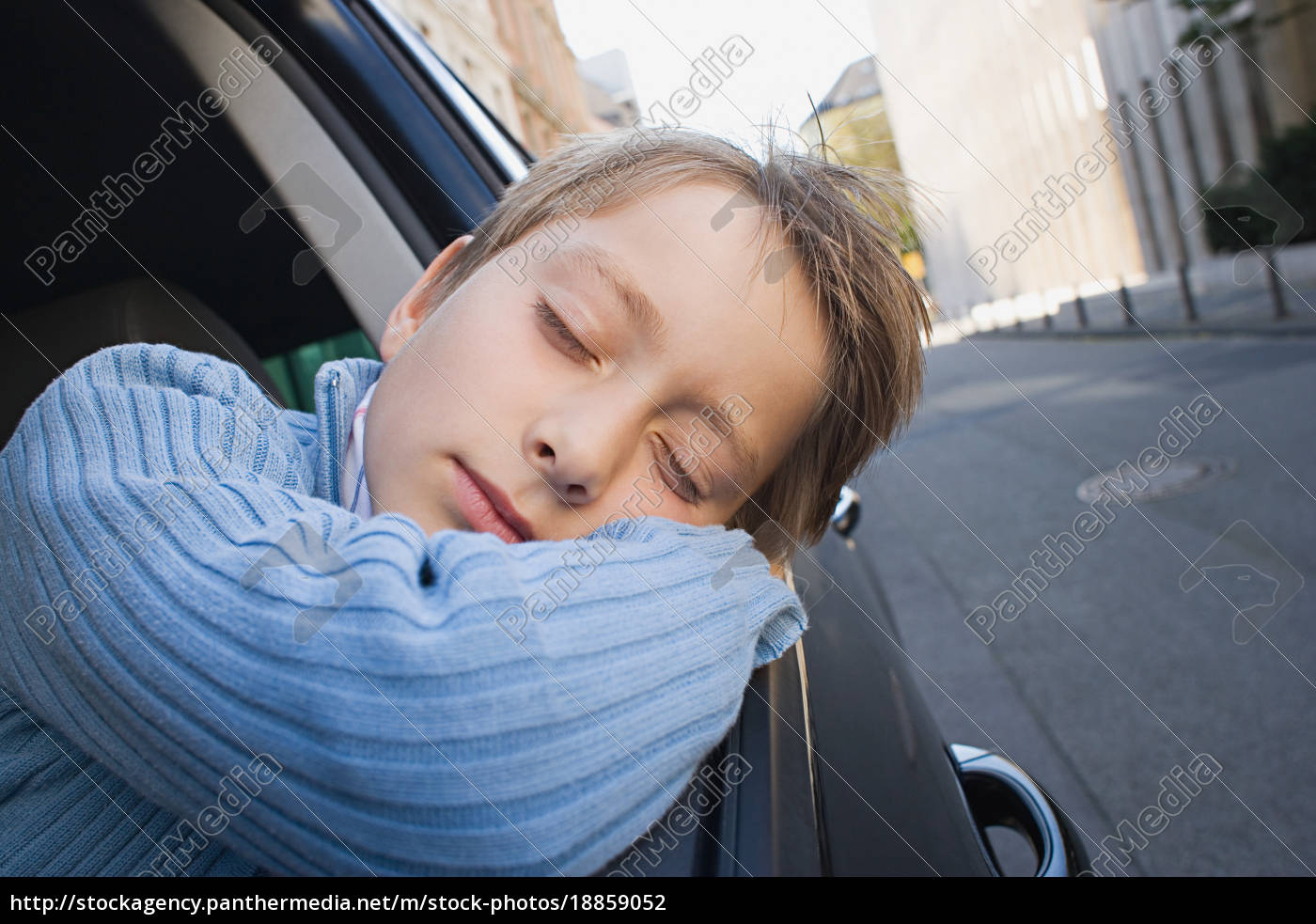 boy, sleeping, on, car, window - 18859052