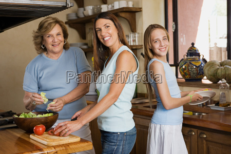 female members of a family preparing