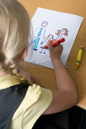 girl drawing family