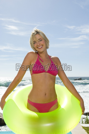 woman in an inflatable ring