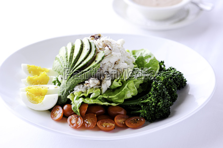 crab louie salad on restaurant table