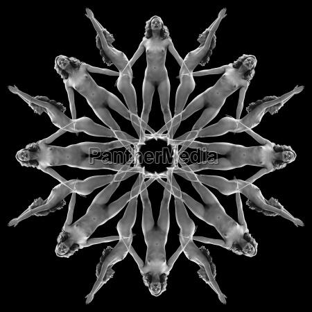feminin sw symmetrie vorderansicht seitenansicht abstraktes