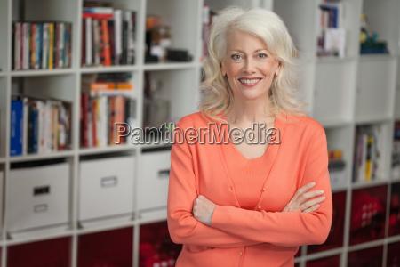 portrait of mature woman indoors