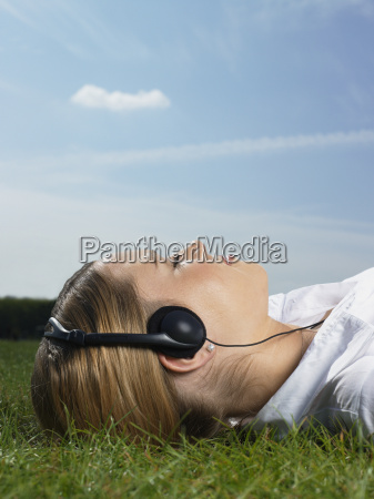 woman listening to music in a